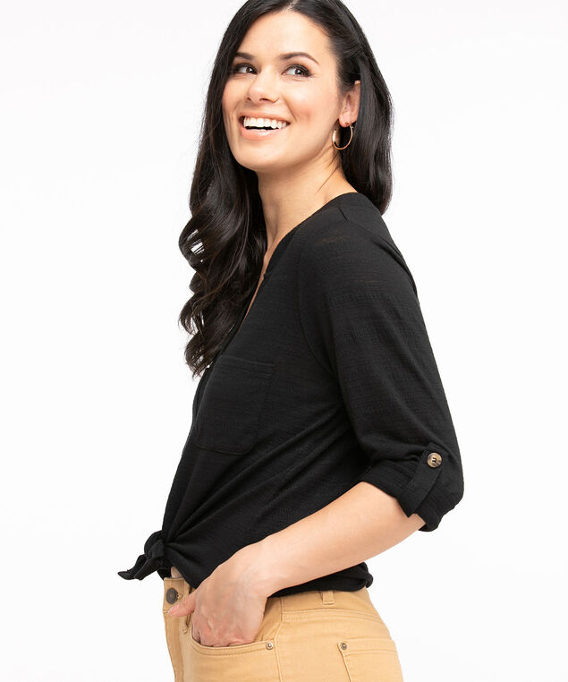 Textured Button Front 3/4 Sleeve Top, Black