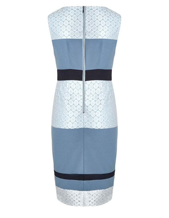 Blue Colour Block Sheath Dress, Blue, hi-res