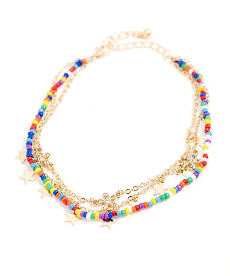 Multi Chain Gold Beaded Anklet, Gold, hi-res