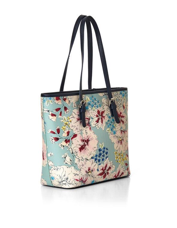 Mint Floral Tote, Blue/Pink, hi-res