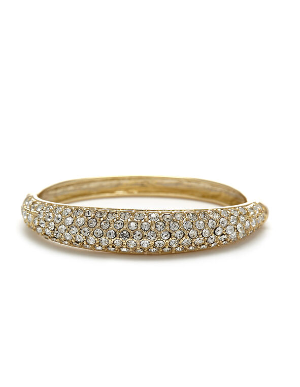 Gold Crystal Hinge Bracelet, Gold, hi-res