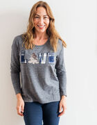 """Grey """"Love"""" French Terry Top, Grey, hi-res"""