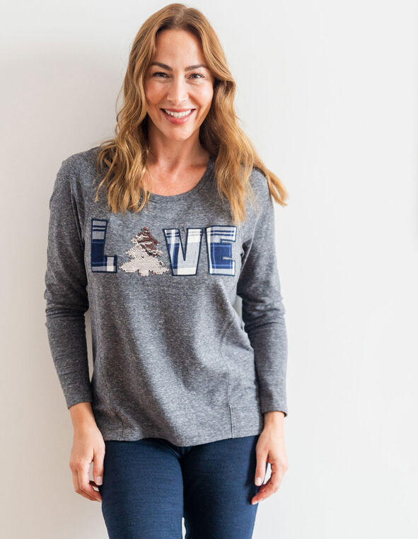 "Grey ""Love"" French Terry Top, Grey, hi-res"