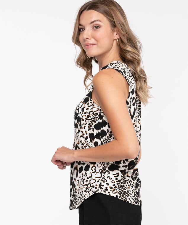Sleeveless Y-Neck Knit Top, White Animal Print