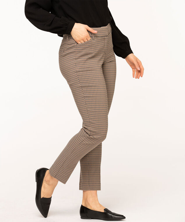 Brown Mini-Plaid Slim Leg Pant, Brown/Camel/Sand