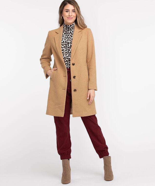 Relaxed Wool Blend Coat, Latte
