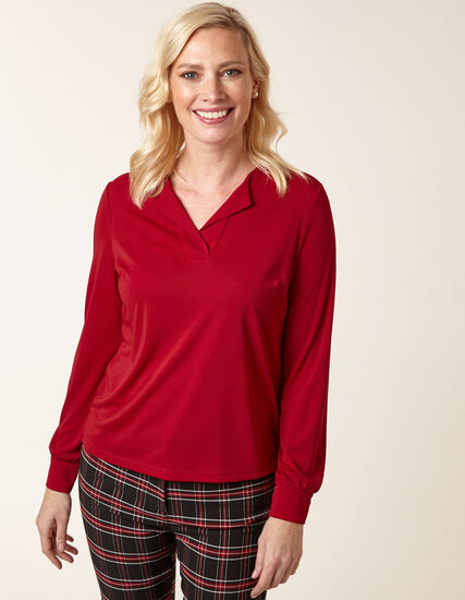 Red Lapel Collared Top, Red, hi-res
