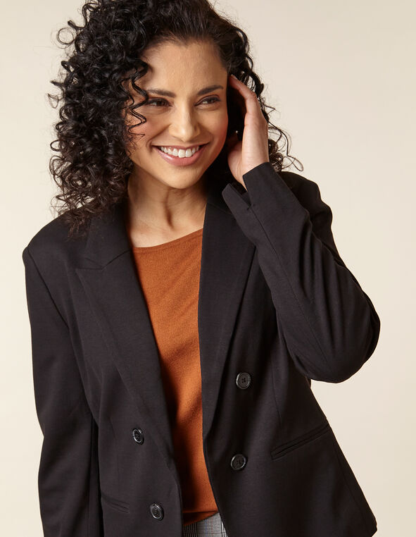 Black Open Style Blazer, Black, hi-res