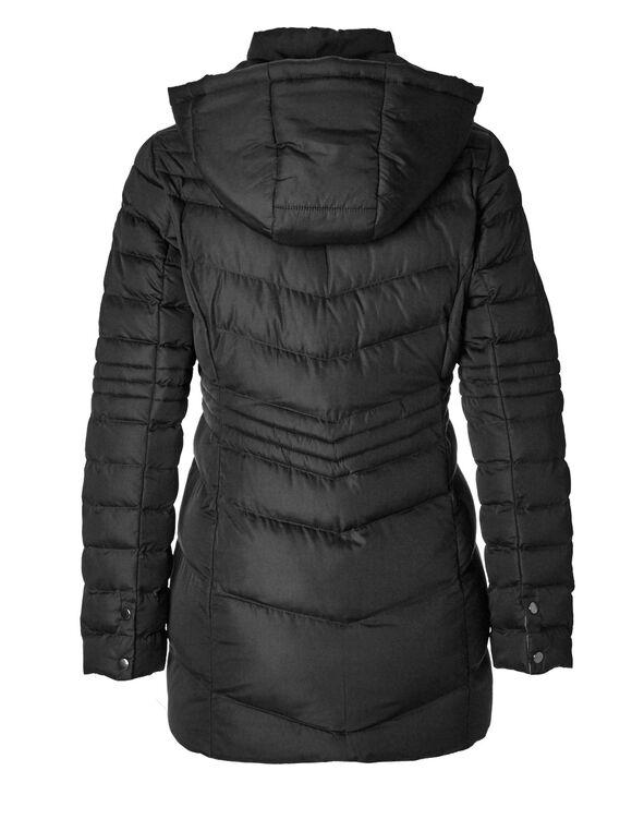 Black Short Chevron Coat, Black, hi-res