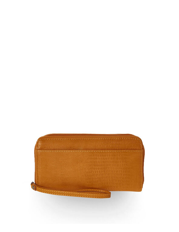 Croco Textured Ochre Wallet, Yellow, hi-res