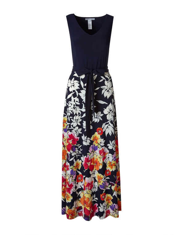 Navy Floral Maxi Dress, Navy, hi-res