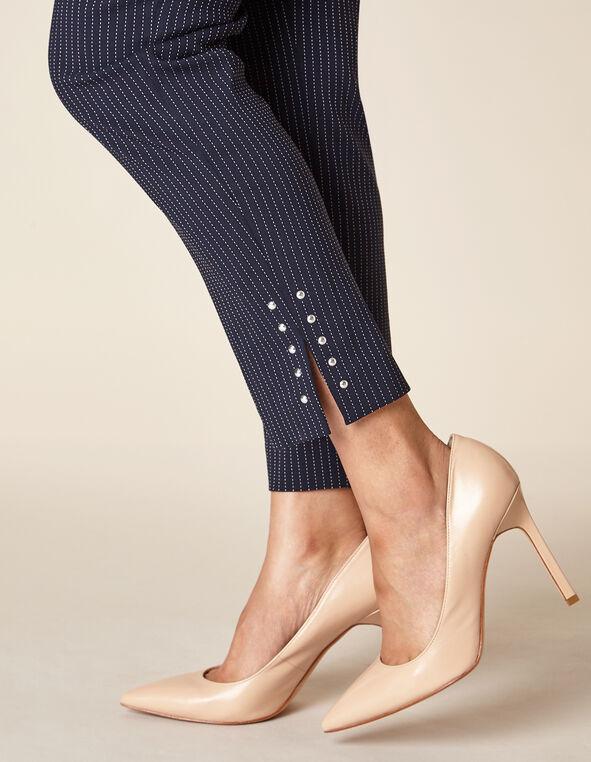 Navy Pinstripe Slim Ankle Pant, Navy, hi-res