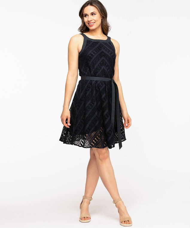 A-Line Lace Halter Dress, Navy