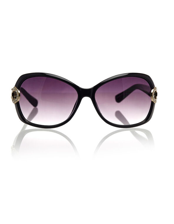 Black Circular Frame Sunglasses, Black, hi-res