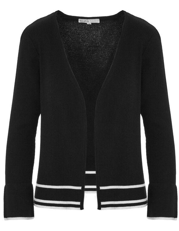 Black Bell Sleeve Mid Cardigan, Black, hi-res