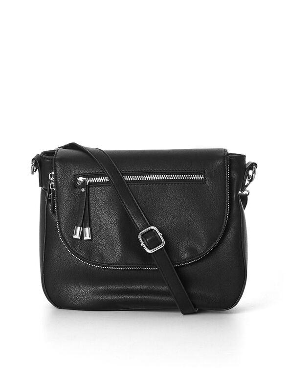 Black Cross Body Bag, Black, hi-res