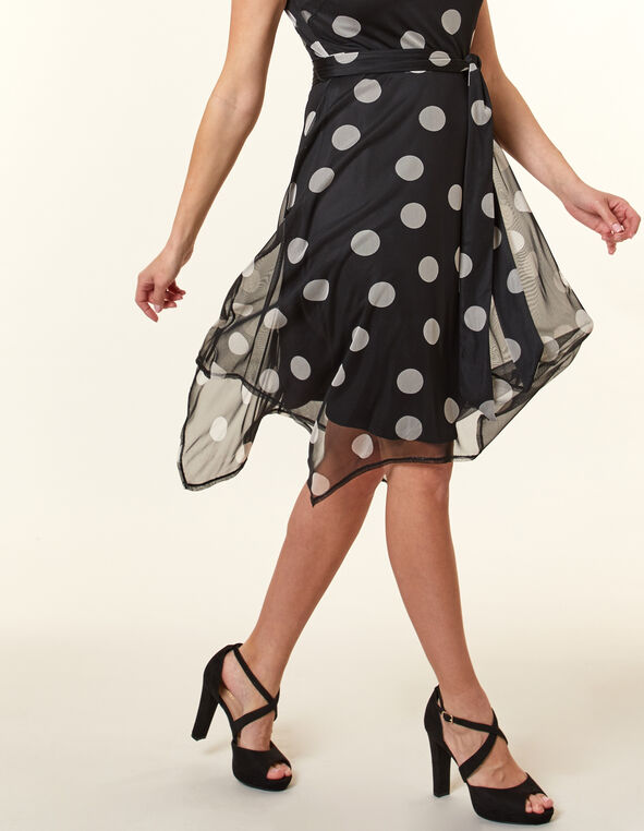 Black Dot Sharkbite Hem Dress, Black, hi-res