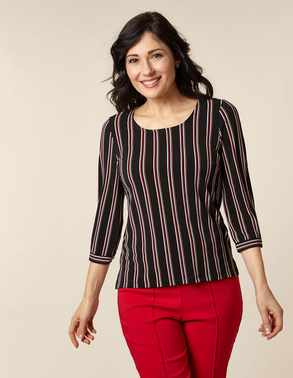 Black Striped Button Detail Crepe Top, Black, hi-res
