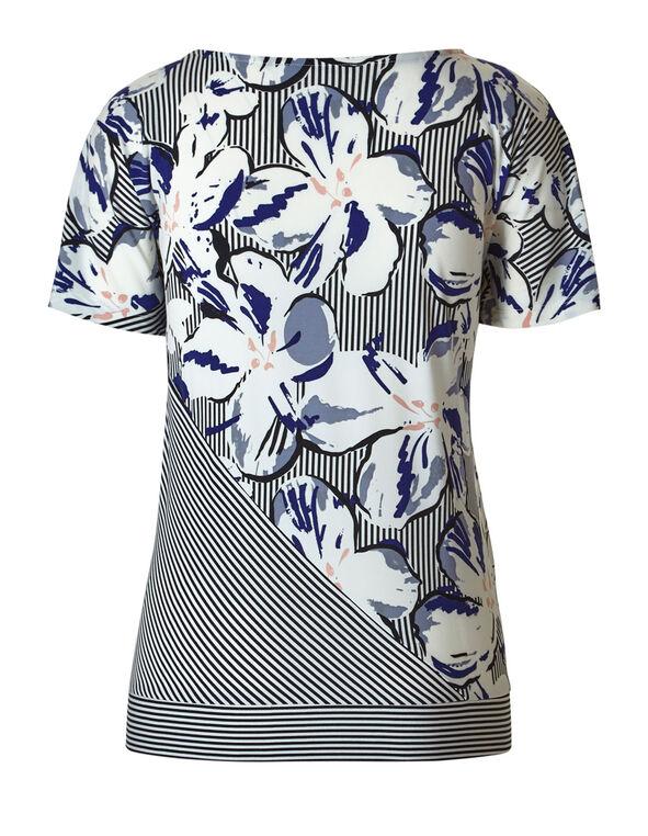 Black Striped Floral Top, Black/White/Blue, hi-res