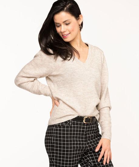 V-Neck Puff Shoulder Sweater, Oatmeal Mix, hi-res