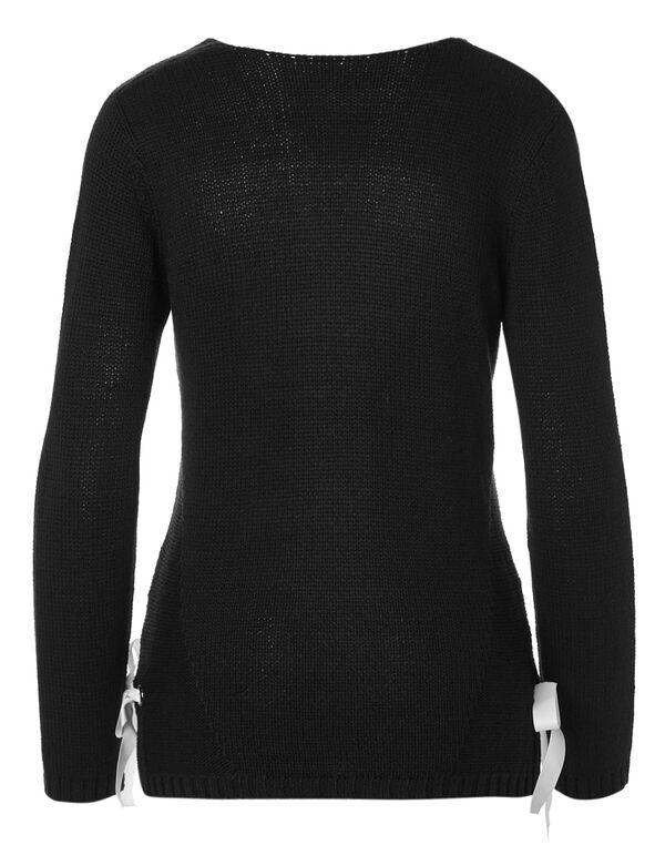 Black Side Gommet Sweater, Solid Black, hi-res