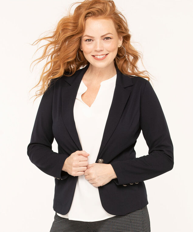 Navy Single Button Blazer, Navy, hi-res