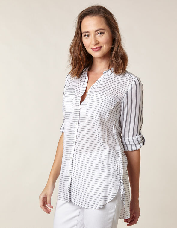 White Striped  Button Tunic Blouse, Wht/Blk, hi-res