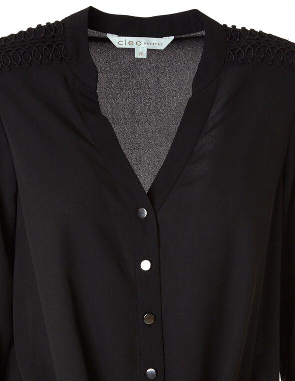 Black Shoulder Detail Blouse, Black, hi-res