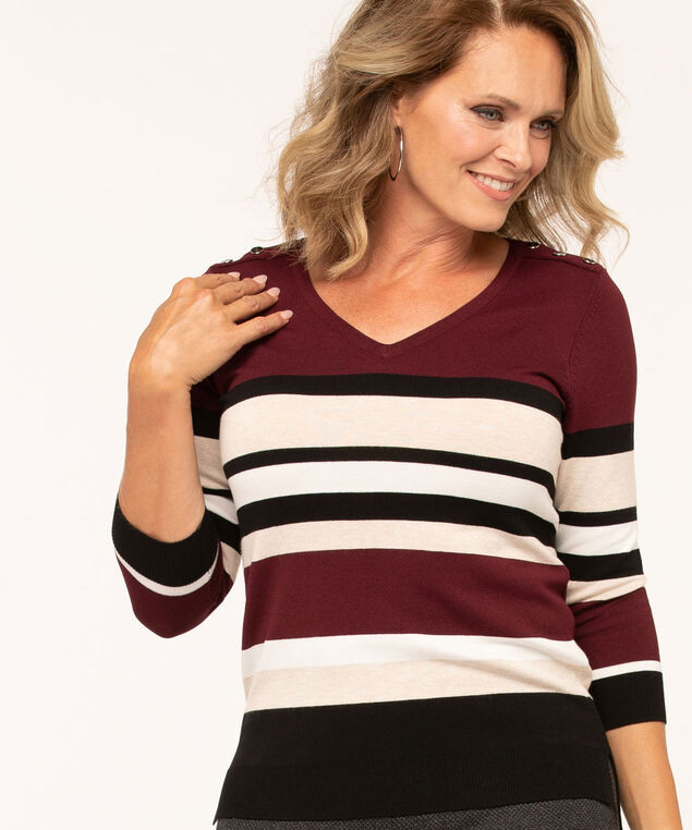 V-Neck Button Shoulder Sweater, Wine, hi-res