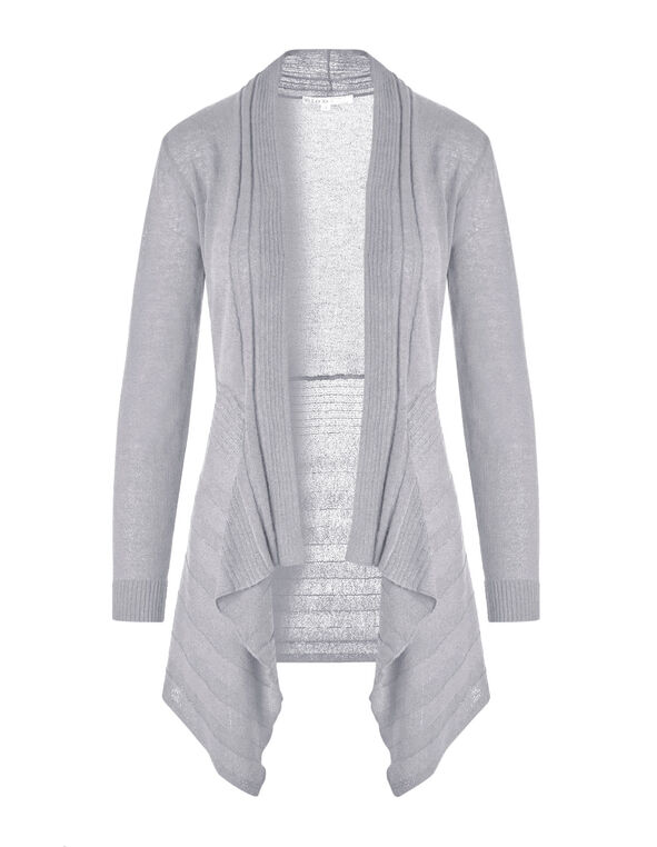 Light Grey Waterfall Cardigan, Light Grey, hi-res