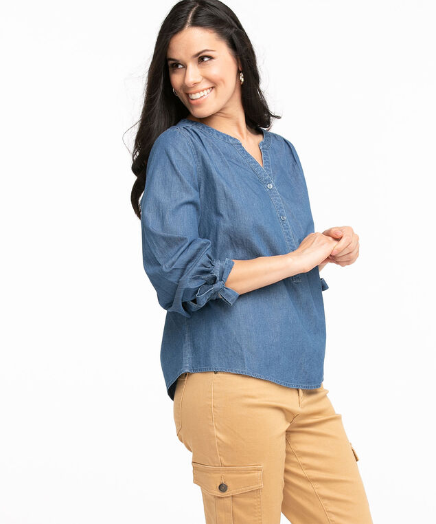 Cotton Henley Popover Blouse, Mid Wash