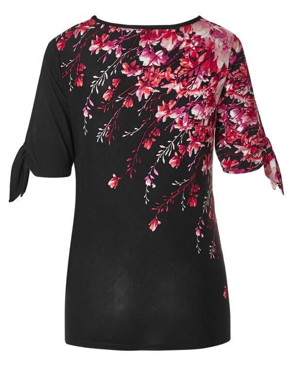 Black Floral Tie Sleeve Top, Black/Pink, hi-res