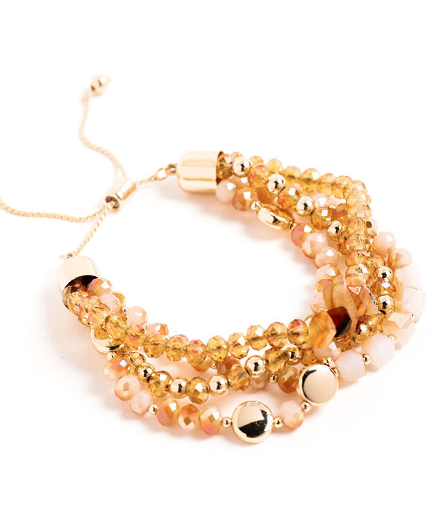 Adjustable Beaded Bracelet, Topaz