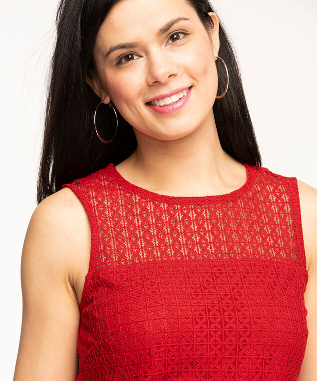 Sleeveless Lace Overlay Top, Red