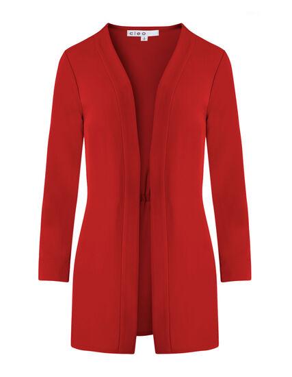 Scarlett Red Draped Blazer, Red, hi-res