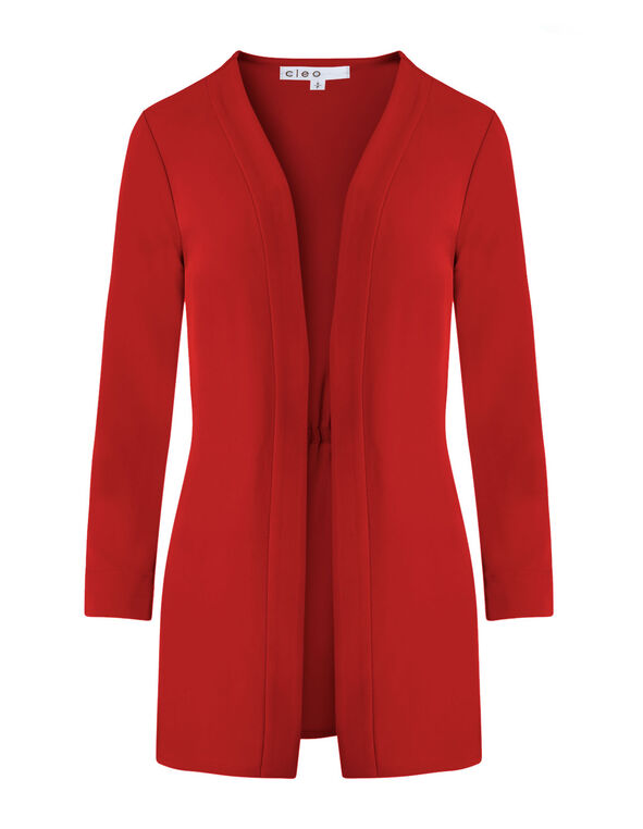 Scarlett Red Draped Blazer, Red, hi-res