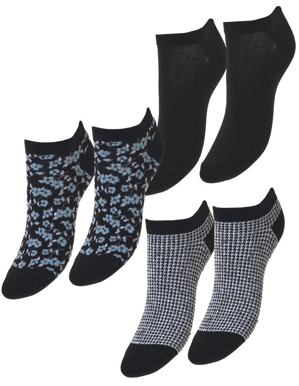 Black Ankle Sock 3 Pack, Black/White/Blue, hi-res