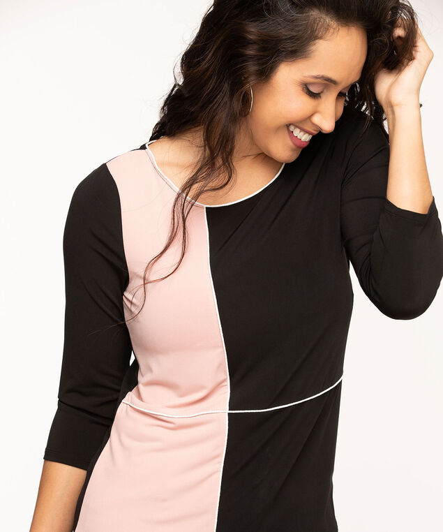 Colour Block Scoop Neck Top, Black/White/Ballet Pink