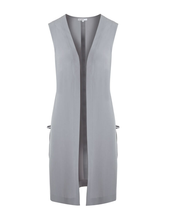 Light Grey Long Vest, Light Grey, hi-res