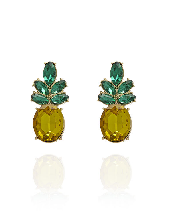Pineapple Earring, Yellow/Green, hi-res