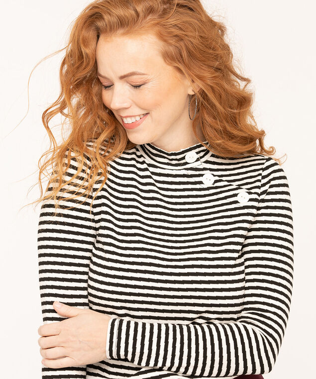 Striped Button Mock Neck Top, Black/White, hi-res