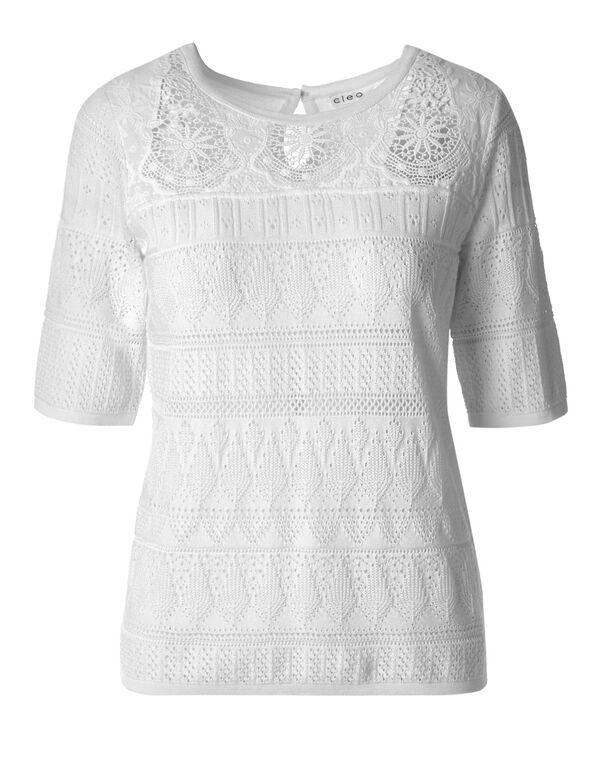 White Crochet Pullover, White, hi-res