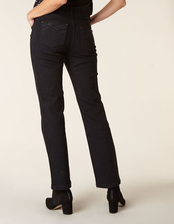Black Bling Straight Leg Jean, Black, hi-res