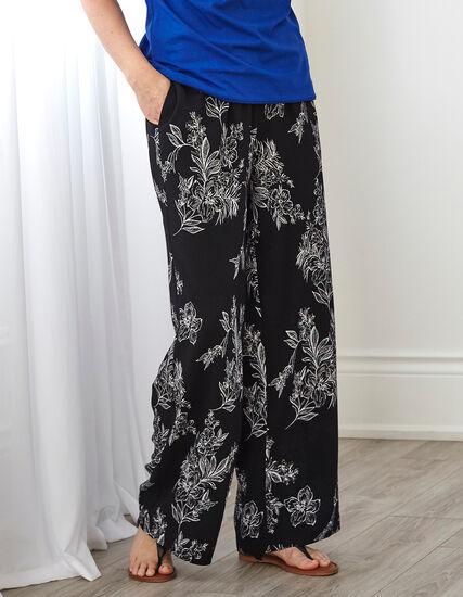 Black Patterned Wide Leg Pant, Black, hi-res