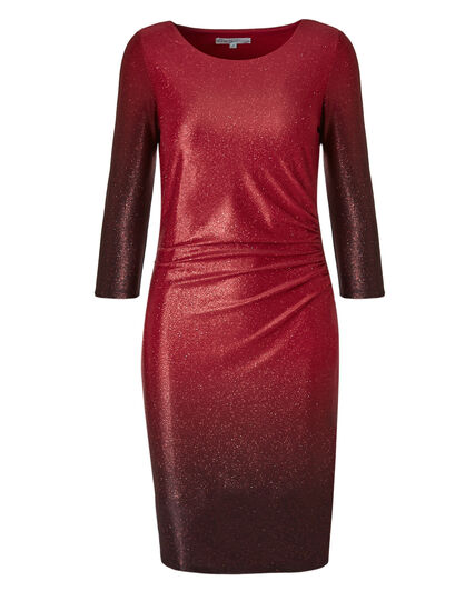 Red Ombre Glitter Sheath Dress, Red, hi-res