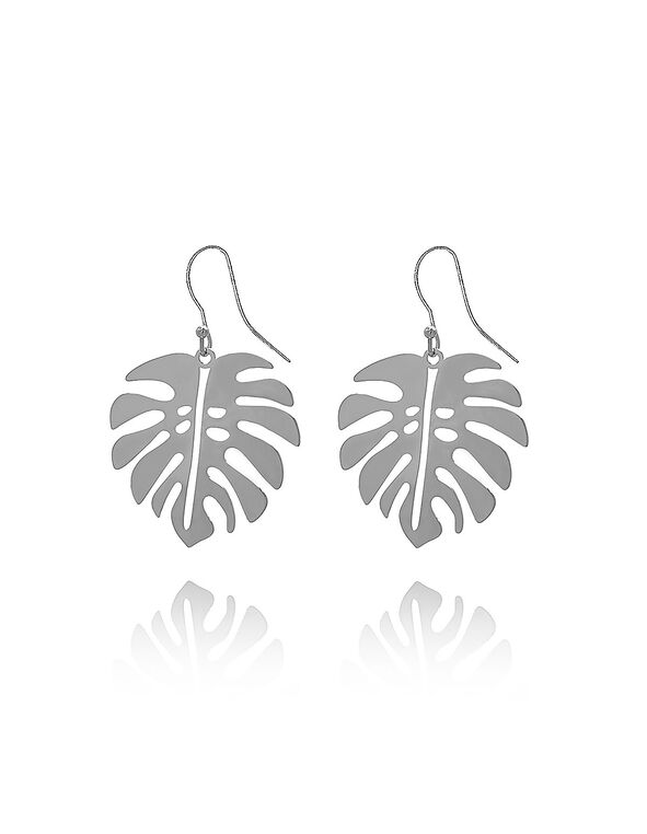 Silver Palm Leaf Earring, Silver, hi-res