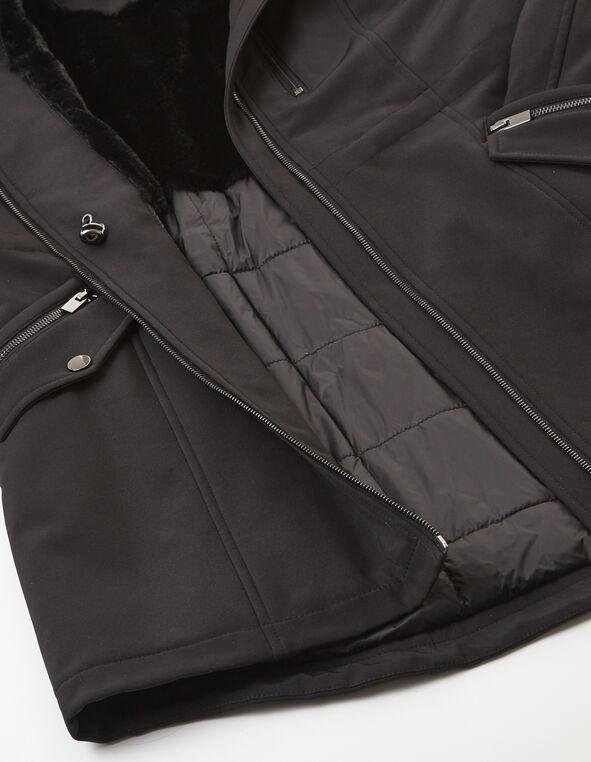 Black Softshell Anorak Coat, Black, hi-res