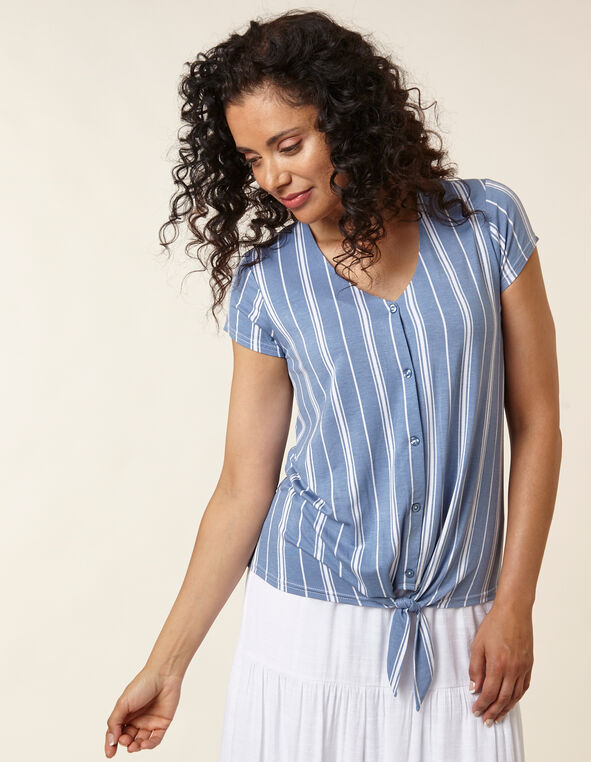 Chambray Striped Top, Blue/White, hi-res