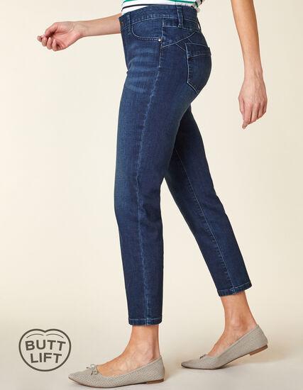 Vintage Wash Butt Lift Slim Jean, Blue, hi-res