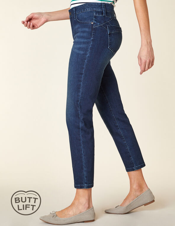 Vintage Wash Butt Lift Slim Jean, Blue, hi-res